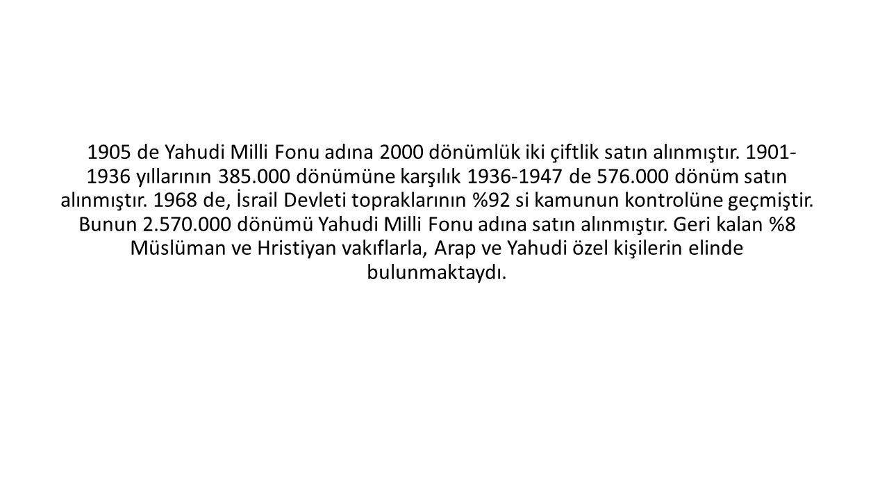 1905 de Yahudi Milli Fonu adına 2000 dönümlük iki çiftlik satın alınmıştır. 1901- 1936 yıllarının 385.000 dönümüne karşılık 1936-1947 de 576.000 dönüm