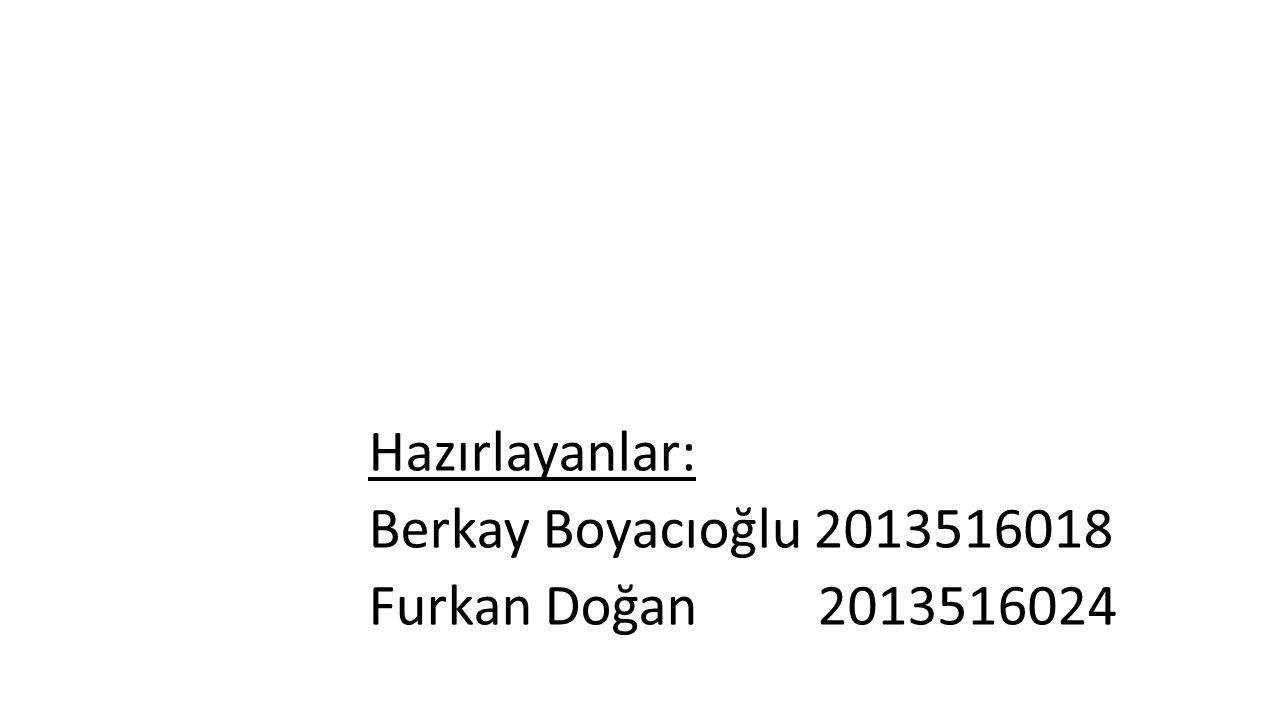 Hazırlayanlar: Berkay Boyacıoğlu 2013516018 Furkan Doğan 2013516024