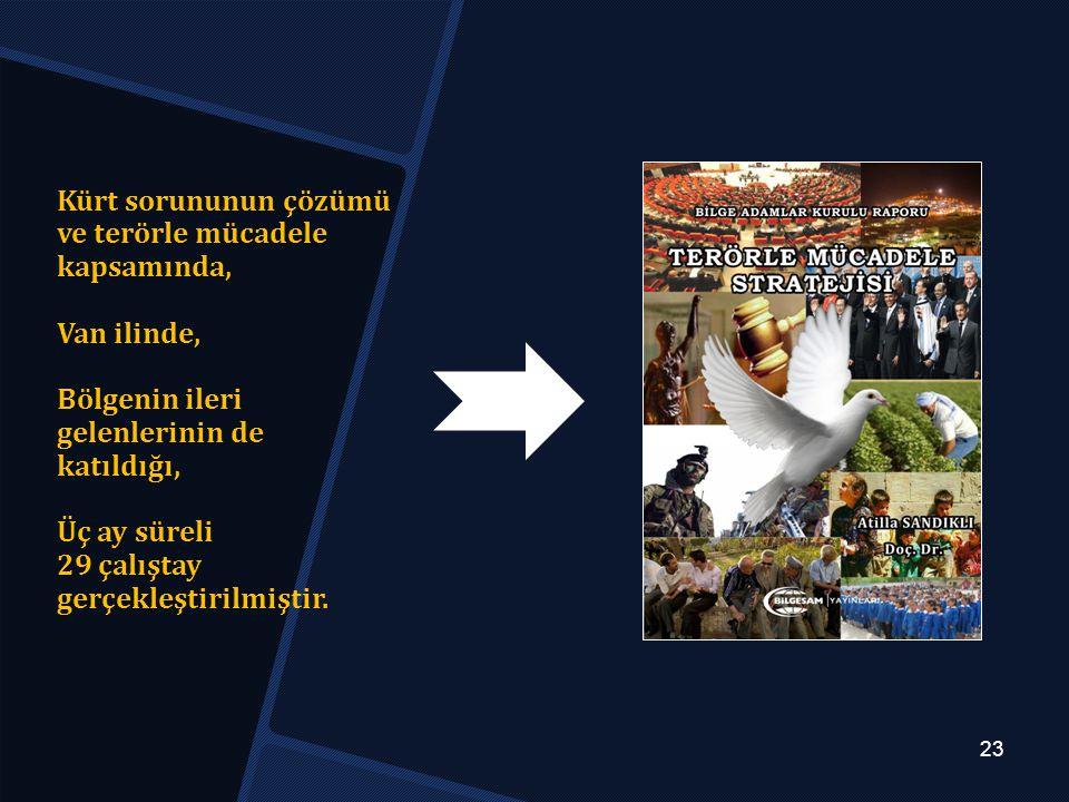 Kürt sorununun çözümü ve terörle mücadele kapsamında, Van ilinde, Bölgenin ileri gelenlerinin de katıldığı, Üç ay süreli 29 çalıştay gerçekleştirilmiştir.