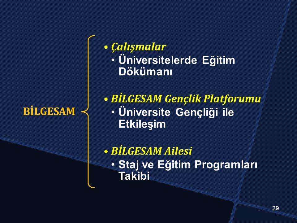 BİLGESAM Çalışmalar Üniversitelerde Eğitim Dökümanı BİLGESAM Gençlik Platforumu Üniversite Gençliği ile Etkileşim BİLGESAM Ailesi Staj ve Eğitim Programları Takibi 29