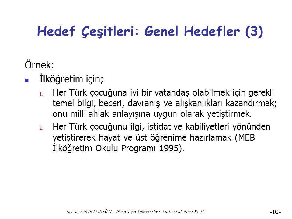 Dr. S. Sadi SEFEROĞLU - Hacettepe Üniversitesi, Eğitim Fakültesi-BÖTE -9- Hedef Çeşitleri: Genel Hedefler (2) Genel hedefler, uzak hedeflere oranla da