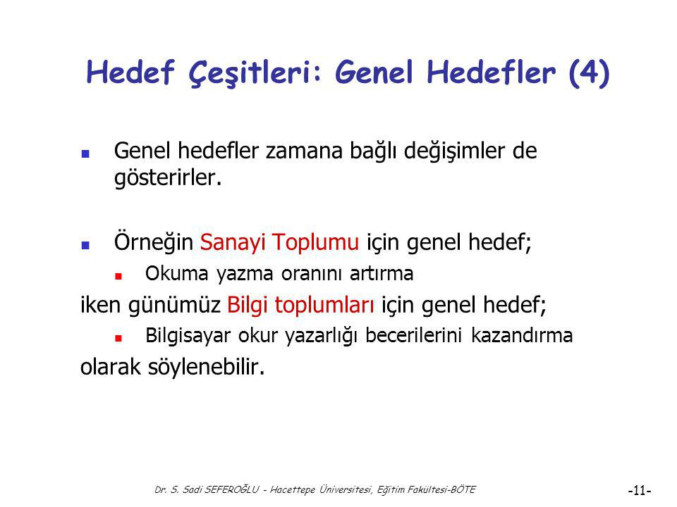 Dr. S. Sadi SEFEROĞLU - Hacettepe Üniversitesi, Eğitim Fakültesi-BÖTE -10- Hedef Çeşitleri: Genel Hedefler (3) Örnek: İlköğretim için; 1. Her Türk çoc