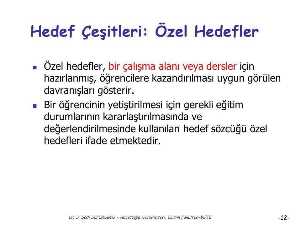 Dr. S. Sadi SEFEROĞLU - Hacettepe Üniversitesi, Eğitim Fakültesi-BÖTE -11- Hedef Çeşitleri: Genel Hedefler (4) Genel hedefler zamana bağlı değişimler