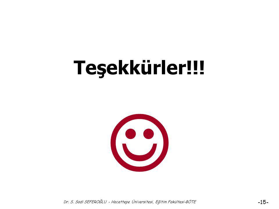 Dr. S. Sadi SEFEROĞLU - Hacettepe Üniversitesi, Eğitim Fakültesi-BÖTE -14- Kaynakça Demirel, Ö. (2009). Kuramdan uygulamaya eğitimde program geliştirm