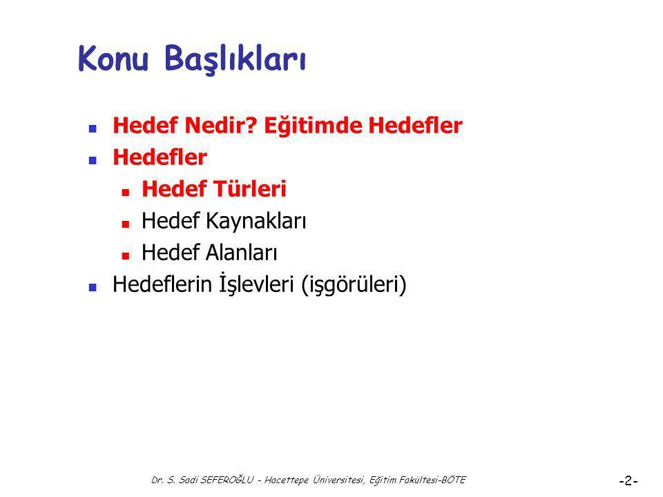 Eğitimde Hedefler ve Hedef Türleri Dr. Süleyman Sadi SEFEROĞLU Hacettepe Üniversitesi, Eğitim Fakültesi Bilgisayar ve Öğretim Teknolojileri Eğitimi Bö