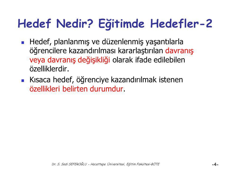 Dr. S. Sadi SEFEROĞLU - Hacettepe Üniversitesi, Eğitim Fakültesi-BÖTE -3- Hedef Nedir? Eğitimde Hedefler Hedef genel anlamıyla varılmak istenen nokta