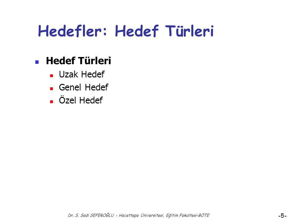 Dr. S. Sadi SEFEROĞLU - Hacettepe Üniversitesi, Eğitim Fakültesi-BÖTE -4- Hedef Nedir? Eğitimde Hedefler-2 Hedef, planlanmış ve düzenlenmiş yaşantılar