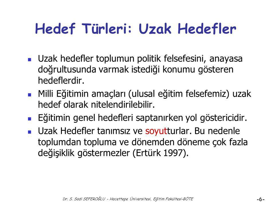Dr. S. Sadi SEFEROĞLU - Hacettepe Üniversitesi, Eğitim Fakültesi-BÖTE -5- Hedefler: Hedef Türleri Hedef Türleri Uzak Hedef Genel Hedef Özel Hedef