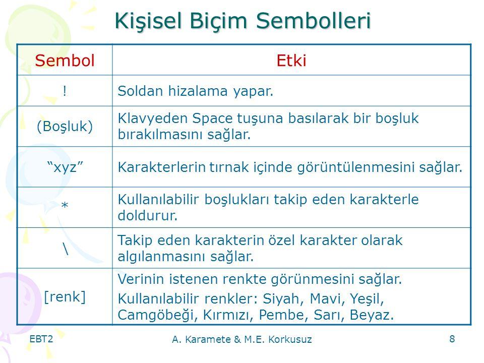 EBT2 A.Karamete & M.E. Korkusuz 8 Kişisel Biçim Sembolleri SembolEtki !Soldan hizalama yapar.