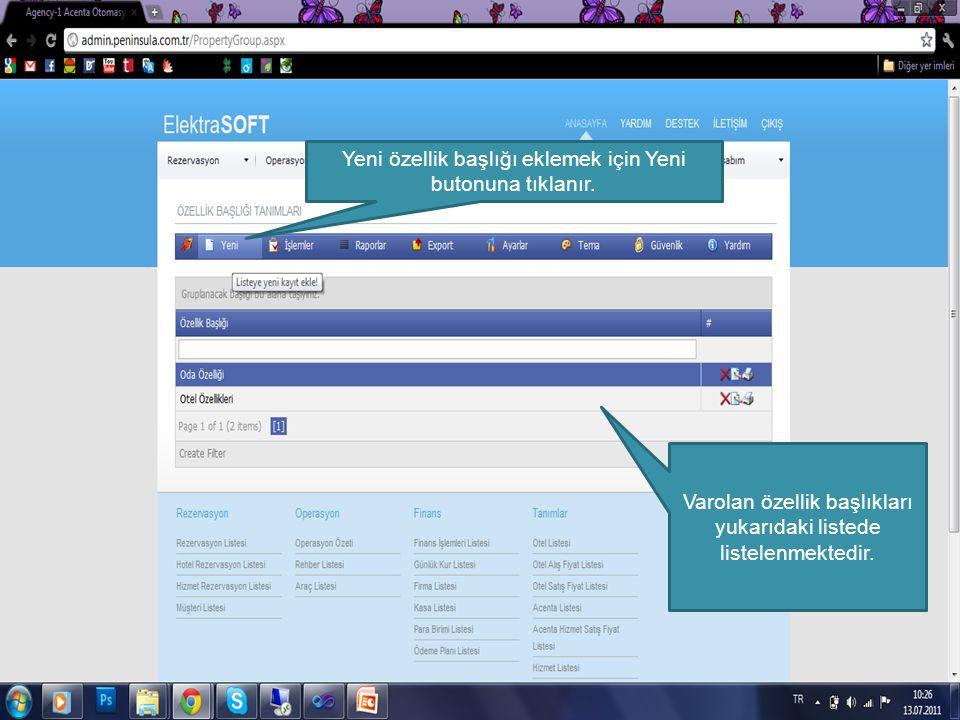 C:\Users\Peyman\Desktop\publish Varolan özellik başlıkları yukarıdaki listede listelenmektedir. Yeni özellik başlığı eklemek için Yeni butonuna tıklan
