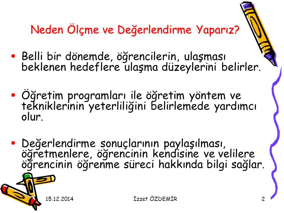 15.12.2014İzzet ÖZDEMİR83 Ders ve Etkinliklere Katılım  Ders ve etkinliklere katılım nasıl değerlendirilir.