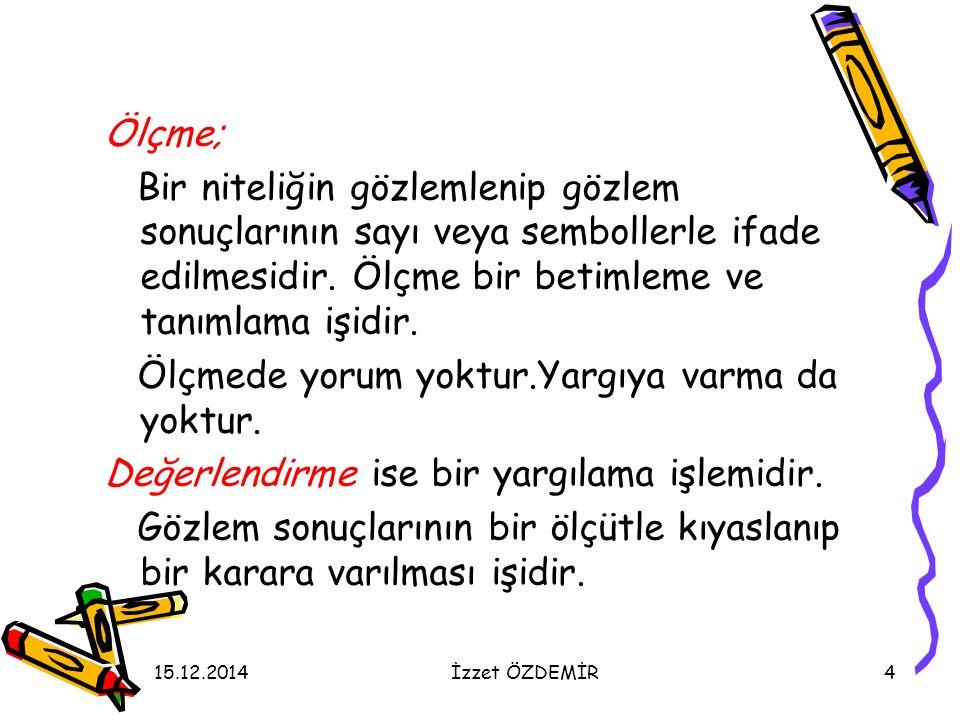 15.12.2014İzzet ÖZDEMİR65 Performansın değerlendirilmesinde aşağıdaki noktalara dikkat edilmelidir.