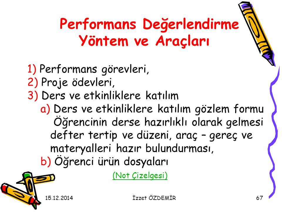 15.12.2014İzzet ÖZDEMİR67 Performans Değerlendirme Yöntem ve Araçları 1) Performans görevleri, 2) Proje ödevleri, 3) Ders ve etkinliklere katılım a) D