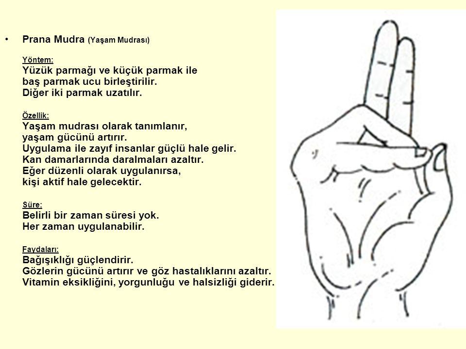 Prana Mudra (Yaşam Mudrası) Yöntem: Yüzük parmağı ve küçük parmak ile baş parmak ucu birleştirilir. Diğer iki parmak uzatılır. Özellik: Yaşam mudrası