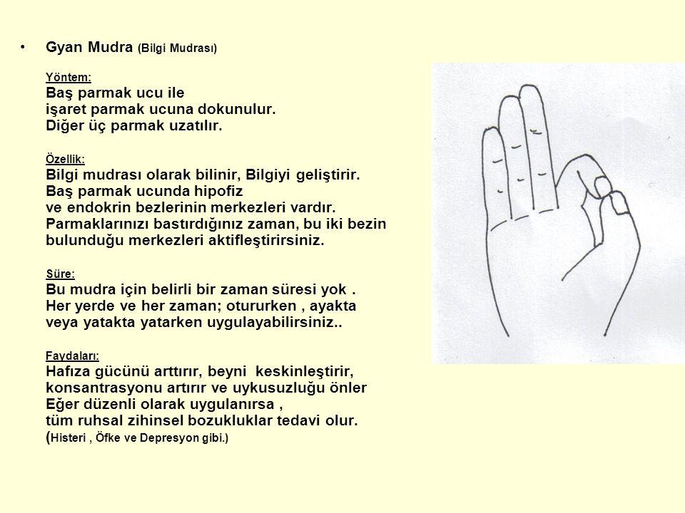 Gyan Mudra (Bilgi Mudrası) Yöntem: Baş parmak ucu ile işaret parmak ucuna dokunulur. Diğer üç parmak uzatılır. Özellik: Bilgi mudrası olarak bilinir,