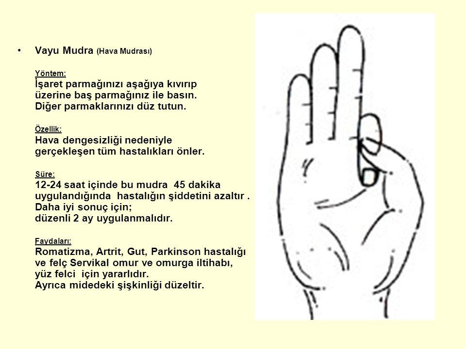 Vayu Mudra (Hava Mudrası) Yöntem: İşaret parmağınızı aşağıya kıvırıp üzerine baş parmağınız ile basın. Diğer parmaklarınızı düz tutun. Özellik: Hava d