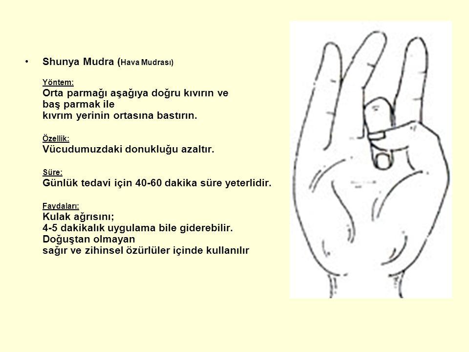 Shunya Mudra ( Hava Mudrası) Yöntem: Orta parmağı aşağıya doğru kıvırın ve baş parmak ile kıvrım yerinin ortasına bastırın. Özellik: Vücudumuzdaki don