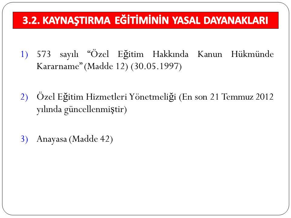 """1)573 sayılı """"Özel E ğ itim Hakkında Kanun Hükmünde Kararname"""" (Madde 12) (30.05.1997) 2)Özel E ğ itim Hizmetleri Yönetmeli ğ i (En son 21 Temmuz 2012"""