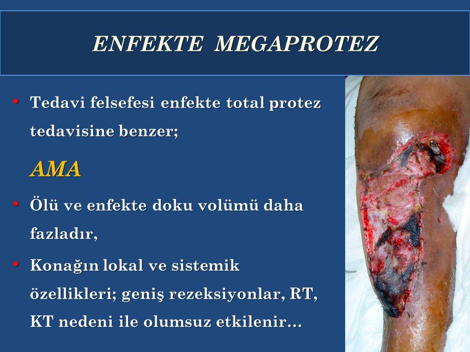 ENFEKTE MEGAPROTEZ Tedavi felsefesi enfekte total protez tedavisine benzer; Tedavi felsefesi enfekte total protez tedavisine benzer;AMA Ölü ve enfekte