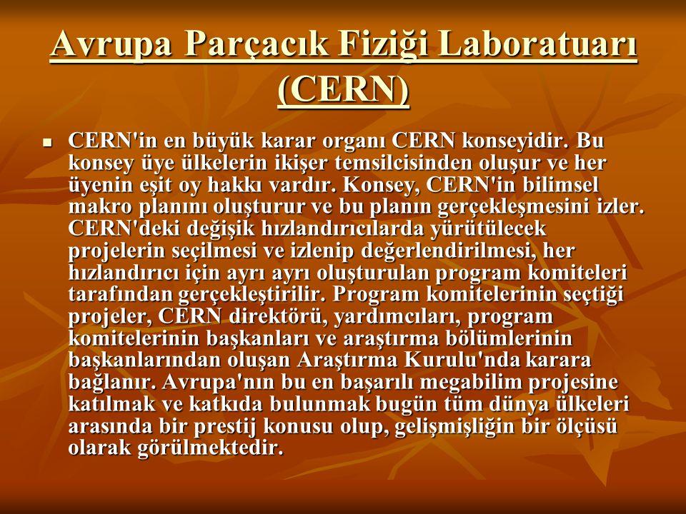 Avrupa Parçacık Fiziği Laboratuarı (CERN) Avrupa Parçacık Fiziği Laboratuarı (CERN) CERN'in en büyük karar organı CERN konseyidir. Bu konsey üye ülkel