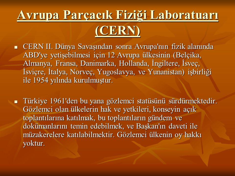 Avrupa Parçacık Fiziği Laboratuarı (CERN) Avrupa Parçacık Fiziği Laboratuarı (CERN) CERN II. Dünya Savaşından sonra Avrupa'nın fizik alanında ABD'ye y