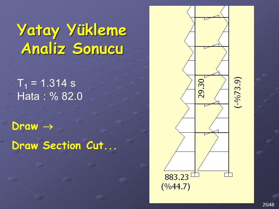Yatay Yükleme Analiz Sonucu 25/48 Draw  Draw Section Cut... T 1 = 1.314 s Hata : % 82.0