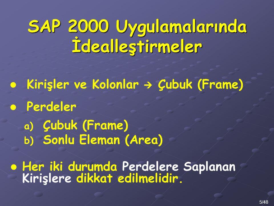 Kirişler ve Kolonlar  Çubuk (Frame) SAP 2000 Uygulamalarında İdealleştirmeler 5/48 Perdeler a) Çubuk (Frame) b) Sonlu Eleman (Area) Her iki durumda P