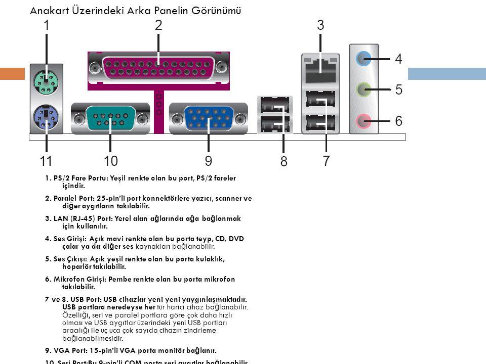 1. PS/2 Fare Portu: Yeşil renkte olan bu port, PS/2 fareler içindir. 2. Paralel Port: 25-pin'li port konnektörlere yazıcı, scanner ve di ğ er aygıtlar