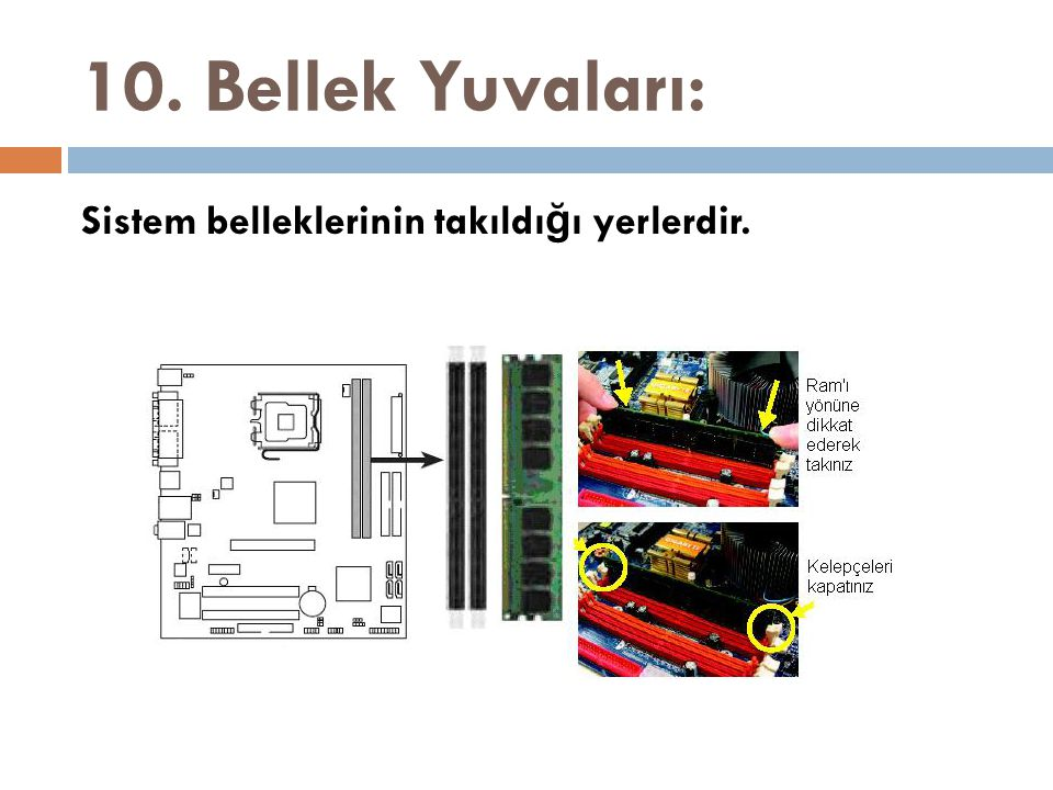 10. Bellek Yuvaları: Sistem belleklerinin takıldı ğ ı yerlerdir.