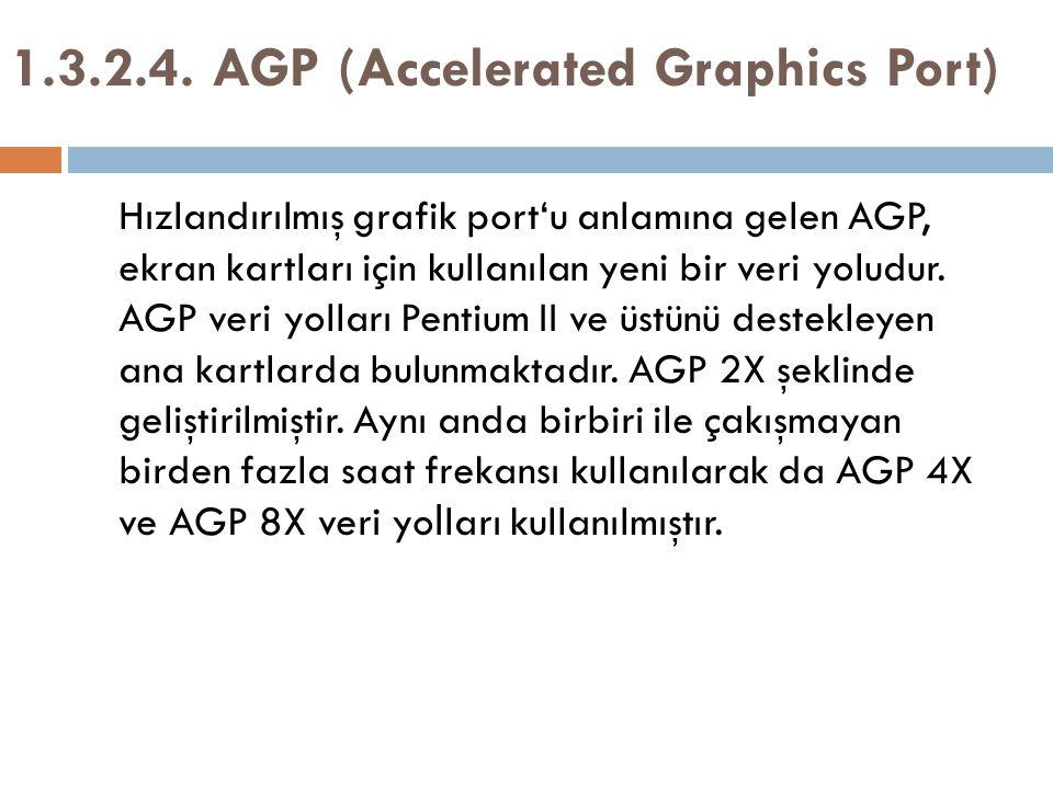 Hızlandırılmış grafik port'u anlamına gelen AGP, ekran kartları için kullanılan yeni bir veri yoludur. AGP veri yolları Pentium II ve üstünü destekley