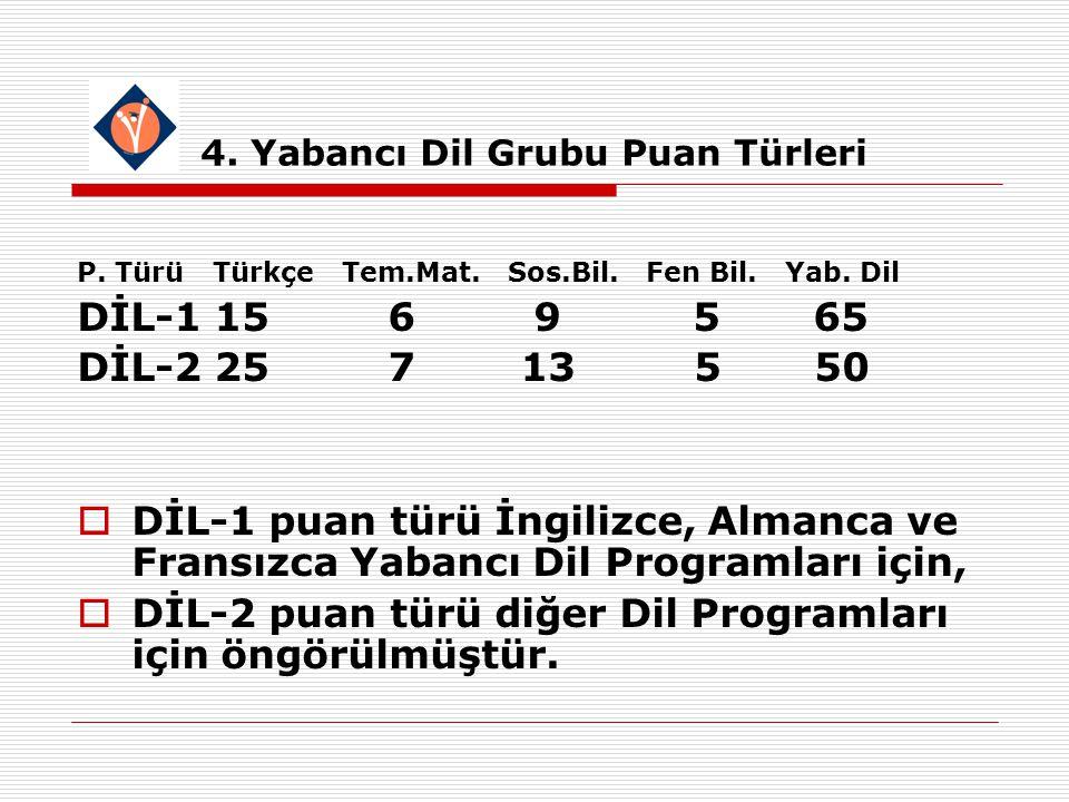 4. Yabancı Dil Grubu Puan Türleri P. Türü Türkçe Tem.Mat.