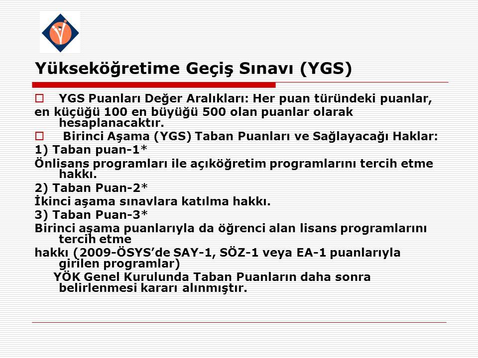 Yükseköğretime Geçiş Sınavı (YGS)  YGS Puanları Değer Aralıkları: Her puan türündeki puanlar, en küçüğü 100 en büyüğü 500 olan puanlar olarak hesaplanacaktır.
