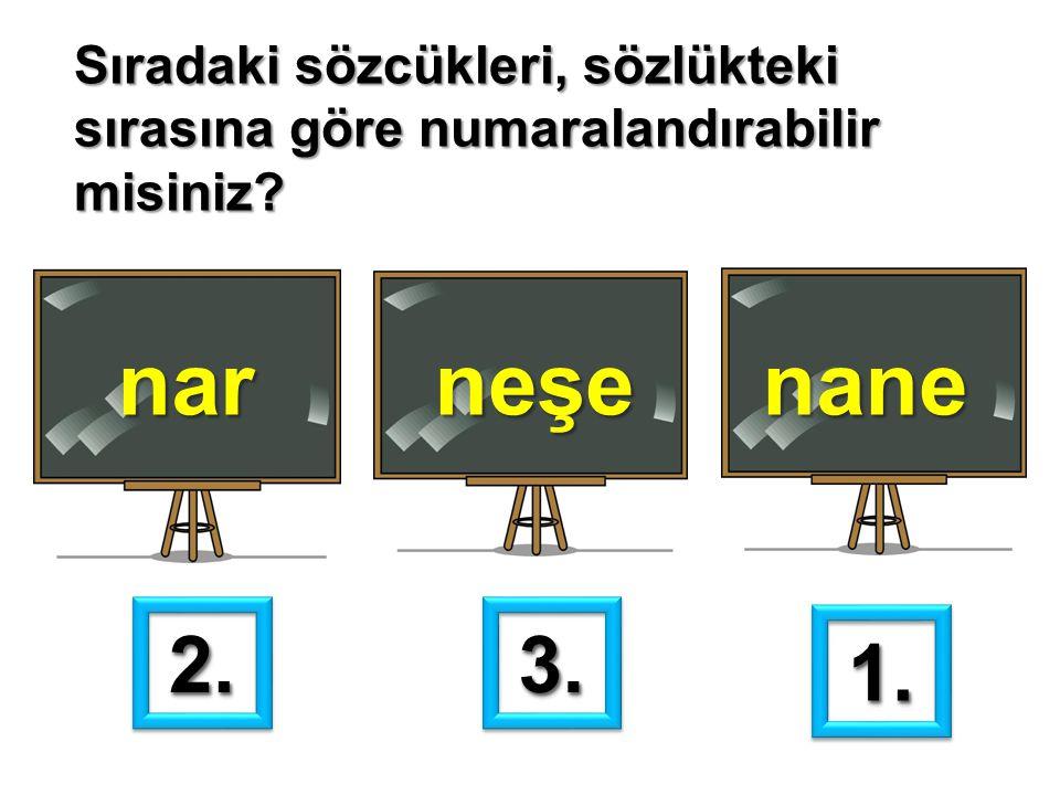 Sıradaki sözcükleri, sözlükteki sırasına göre numaralandırabilir misiniz? narneşenane 1.1. 2.2.3.3.