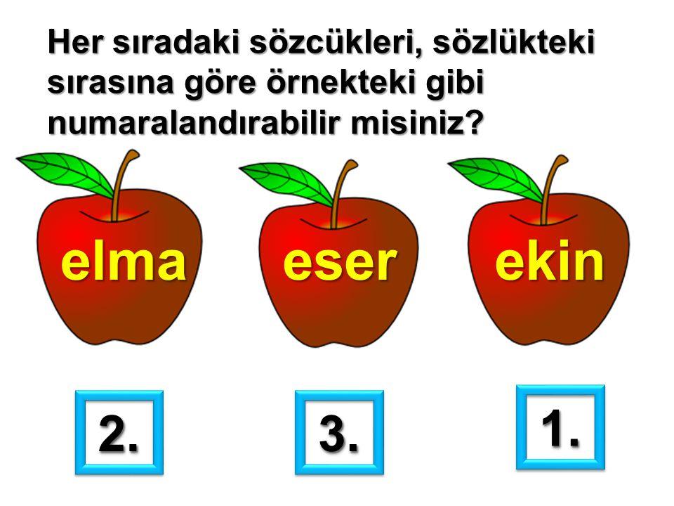 Her sıradaki sözcükleri, sözlükteki sırasına göre örnekteki gibi numaralandırabilir misiniz? elmaeserekin 1.1. 2.2.3.3.