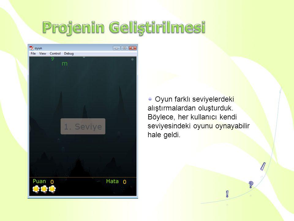 Oyun farklı seviyelerdeki alıştırmalardan oluşturduk. Böylece, her kullanıcı kendi seviyesindeki oyunu oynayabilir hale geldi.