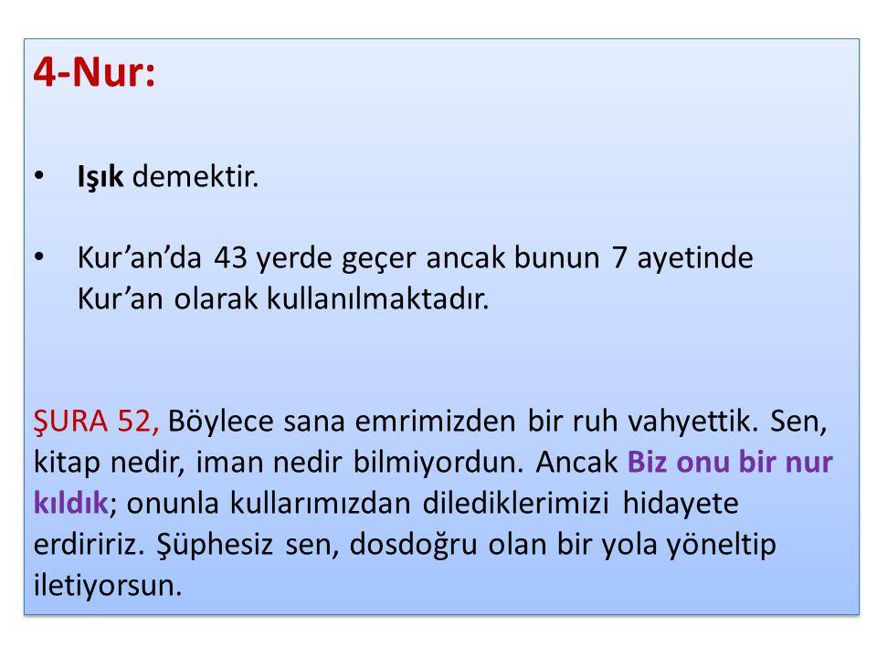4-Nur: Işık demektir. Kur'an'da 43 yerde geçer ancak bunun 7 ayetinde Kur'an olarak kullanılmaktadır. ŞURA 52, Böylece sana emrimizden bir ruh vahyett