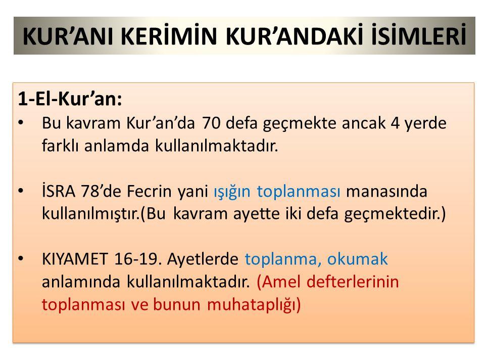 KUR'ANI KERİMİN KUR'ANDAKİ İSİMLERİ 1-El-Kur'an: Bu kavram Kur'an'da 70 defa geçmekte ancak 4 yerde farklı anlamda kullanılmaktadır. İSRA 78'de Fecrin