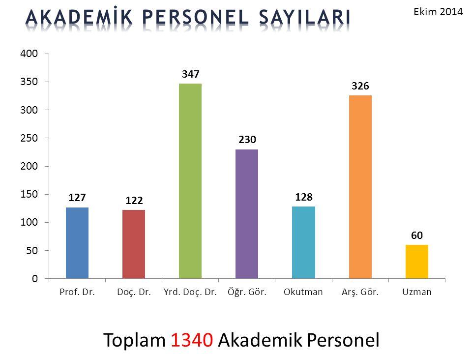 Toplam 1340 Akademik Personel Ekim 2014