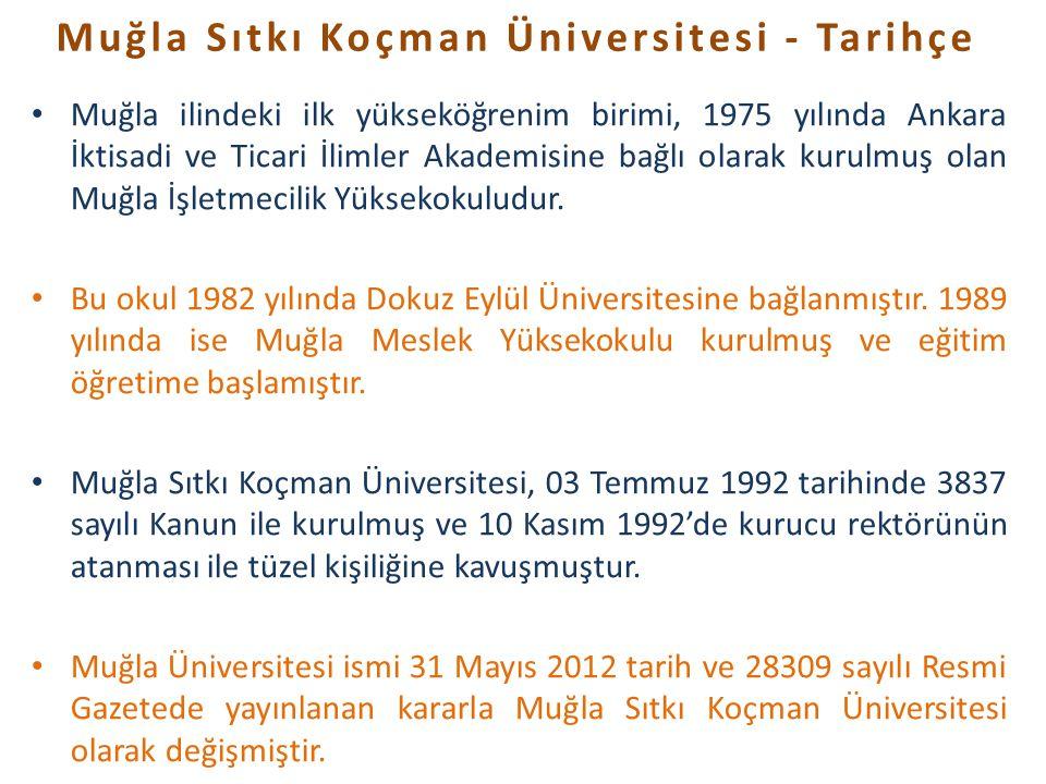 Muğla ilindeki ilk yükseköğrenim birimi, 1975 yılında Ankara İktisadi ve Ticari İlimler Akademisine bağlı olarak kurulmuş olan Muğla İşletmecilik Yüks