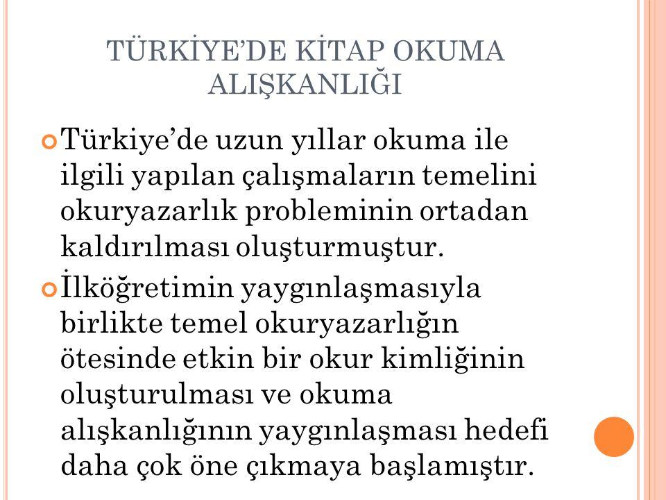 TÜRKİYE'DE KİTAP OKUMA ALIŞKANLIĞI Türkiye'de uzun yıllar okuma ile ilgili yapılan çalışmaların temelini okuryazarlık probleminin ortadan kaldırılması oluşturmuştur.