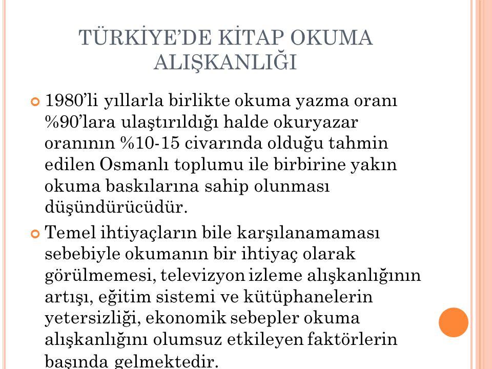 TÜRKİYE'DE KİTAP OKUMA ALIŞKANLIĞI 1980'li yıllarla birlikte okuma yazma oranı %90'lara ulaştırıldığı halde okuryazar oranının %10-15 civarında olduğu tahmin edilen Osmanlı toplumu ile birbirine yakın okuma baskılarına sahip olunması düşündürücüdür.