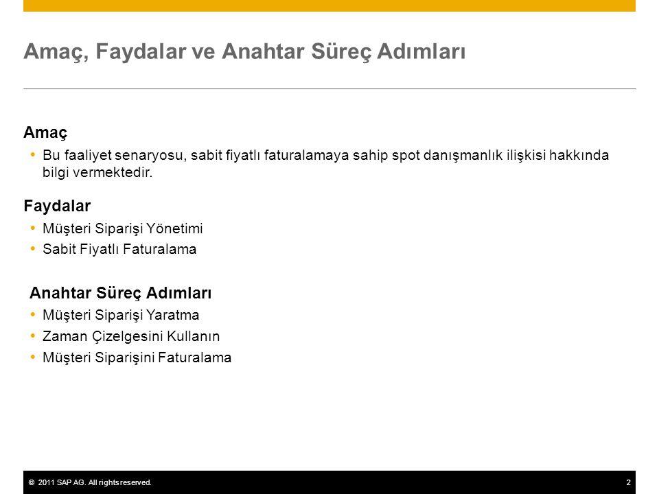 ©2011 SAP AG. All rights reserved.2 Amaç, Faydalar ve Anahtar Süreç Adımları Amaç  Bu faaliyet senaryosu, sabit fiyatlı faturalamaya sahip spot danış