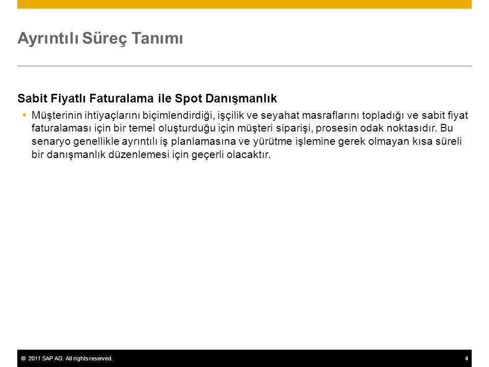 ©2011 SAP AG. All rights reserved.4 Ayrıntılı Süreç Tanımı Sabit Fiyatlı Faturalama ile Spot Danışmanlık  Müşterinin ihtiyaçlarını biçimlendirdiği, i