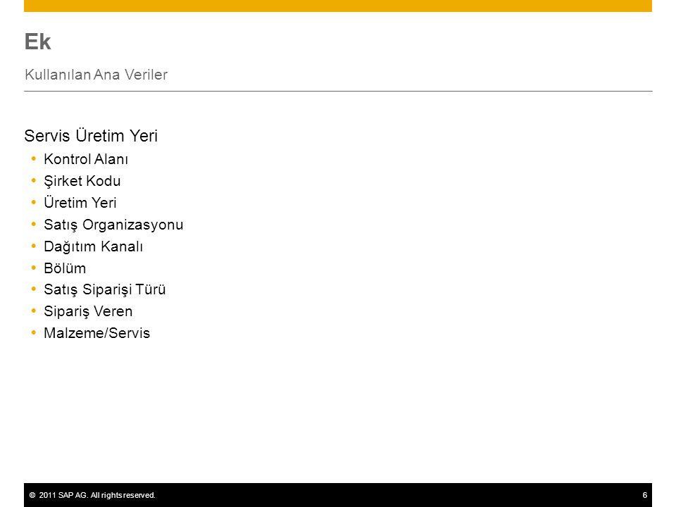 ©2011 SAP AG. All rights reserved.6 Ek Kullanılan Ana Veriler Servis Üretim Yeri  Kontrol Alanı  Şirket Kodu  Üretim Yeri  Satış Organizasyonu  D