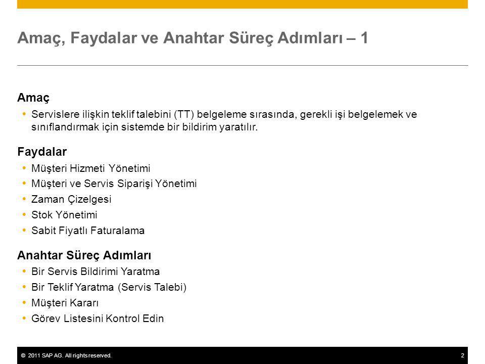 ©2011 SAP AG. All rights reserved.2 Amaç, Faydalar ve Anahtar Süreç Adımları – 1 Amaç  Servislere ilişkin teklif talebini (TT) belgeleme sırasında, g