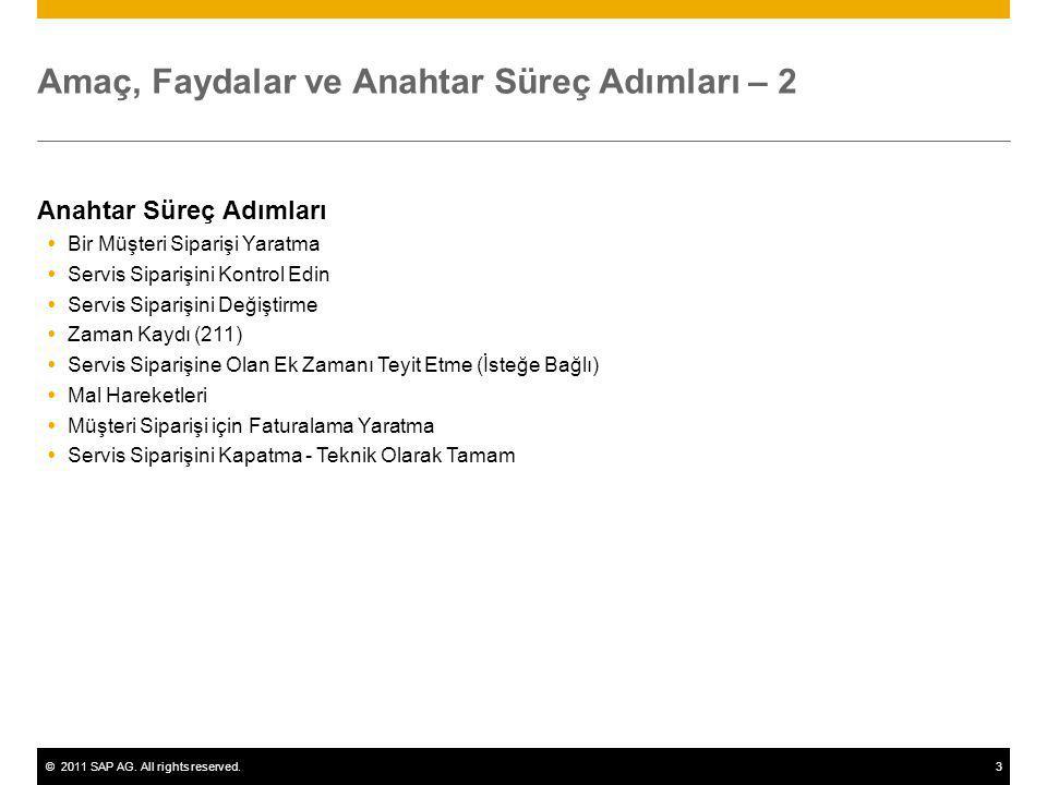 ©2011 SAP AG. All rights reserved.3 Amaç, Faydalar ve Anahtar Süreç Adımları – 2 Anahtar Süreç Adımları  Bir Müşteri Siparişi Yaratma  Servis Sipari