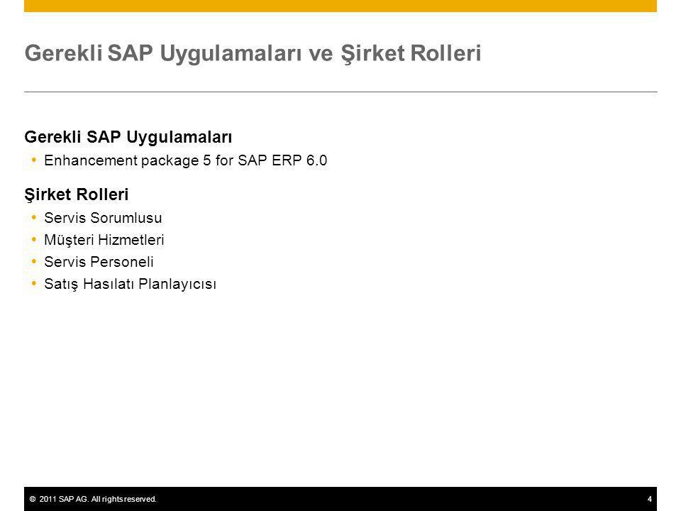 ©2011 SAP AG. All rights reserved.4 Gerekli SAP Uygulamaları ve Şirket Rolleri Gerekli SAP Uygulamaları  Enhancement package 5 for SAP ERP 6.0 Şirket