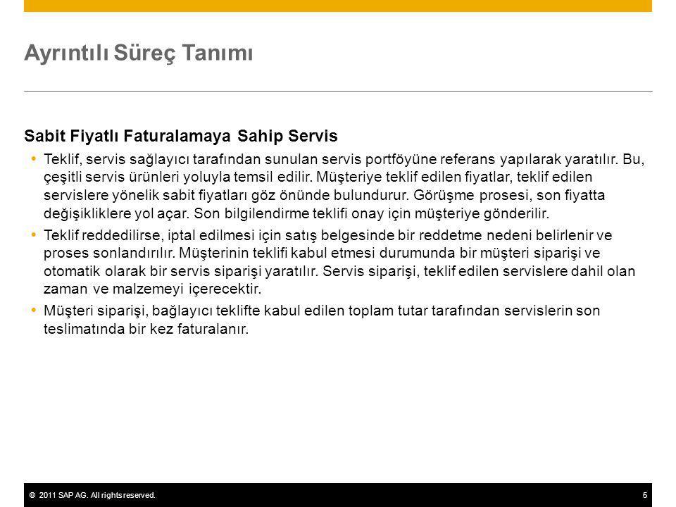 ©2011 SAP AG. All rights reserved.5 Ayrıntılı Süreç Tanımı Sabit Fiyatlı Faturalamaya Sahip Servis  Teklif, servis sağlayıcı tarafından sunulan servi