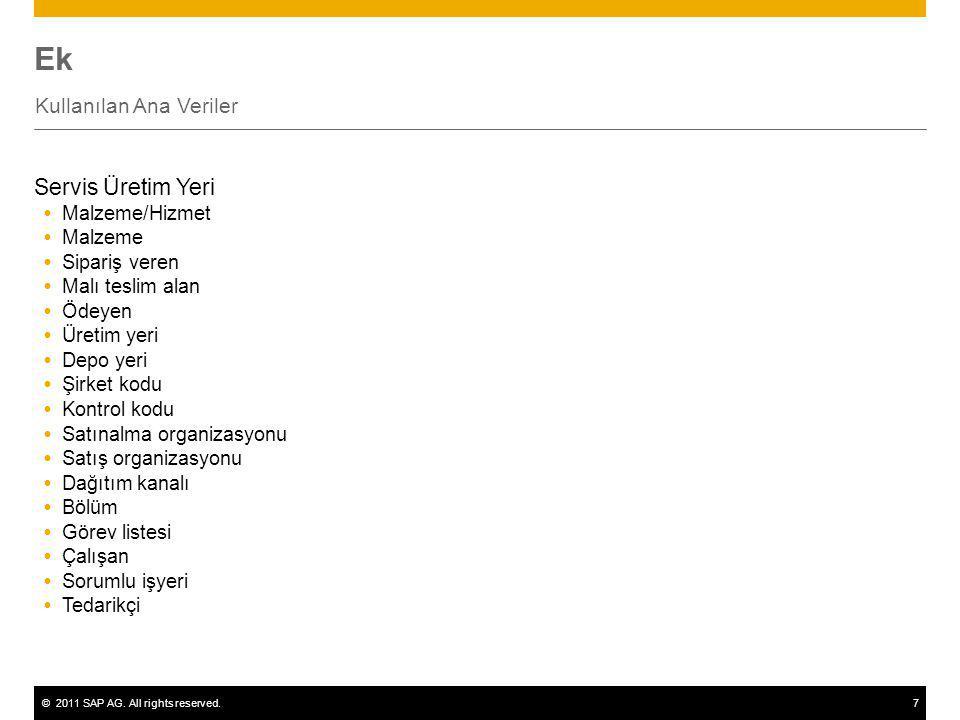 ©2011 SAP AG. All rights reserved.7 Ek Kullanılan Ana Veriler Servis Üretim Yeri  Malzeme/Hizmet  Malzeme  Sipariş veren  Malı teslim alan  Ödeye