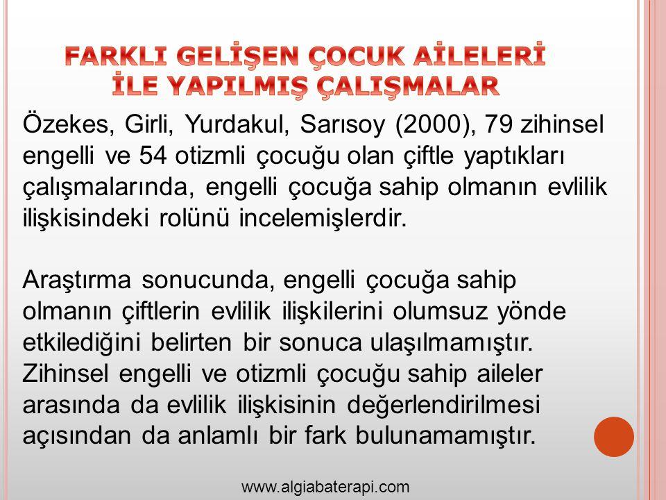 Özekes, Girli, Yurdakul, Sarısoy (2000), 79 zihinsel engelli ve 54 otizmli çocuğu olan çiftle yaptıkları çalışmalarında, engelli çocuğa sahip olmanın evlilik ilişkisindeki rolünü incelemişlerdir.